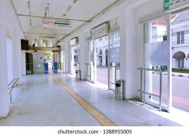 Jakarta / Indonesia - APril 20 2019: The interior of Kali Besar Barat Transjakarta bus station at Kota Tua Jakarta