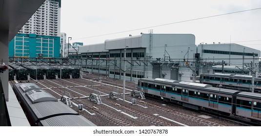 Jakarta, Indonesia, April 2019: how Lebak Bulus Grab MRT Station looks like. Last station of MRT phase 1 on line Bundaran HI - Lebak Bulus Grab