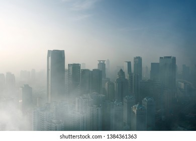 JAKARTA - Indonesia. April 24, 2019: Drone view of heavy air pollution in Jakarta city at morning time