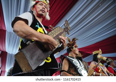 Jakarta, Indonesia - April 28, 2013: Traditional music from Dayak Tribe performance at Dayak Culture Festival, Jakarta-Indonesia