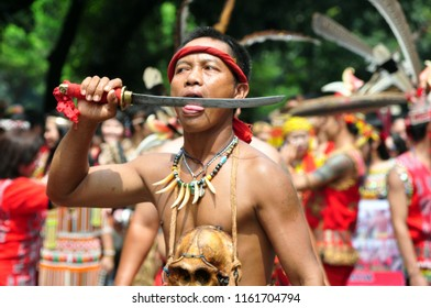 Jakarta, Indonesia - April 28, 2013: Traditional performance fron dayak tribe at Dayak Culture Festival, Jakarta-Indonesia