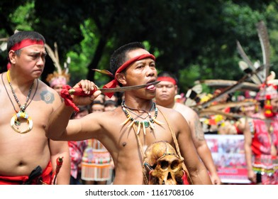 Jakarta, Indonesia - April 28, 2013: Traditional performance from dayak tribe at Dayak Culture Festival, Jakarta-Indonesia