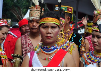Jakarta, Indonesia - April 28, 2013: Dayak people with traditional costume at Dayak Culture Festival, Jakarta-Indonesia