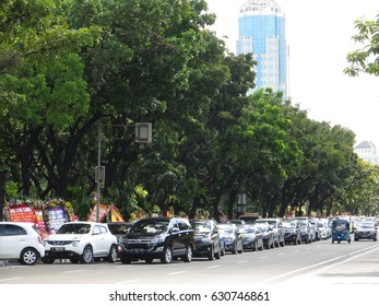 JAKARTA, INDONESIA - April 28, 2017: Congested traffic on Jalan Merdeka Selatan.