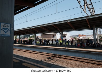 Jakarta, Indonesia - April 28, 2020: A view of Depok commuter line stations in Indonesia.