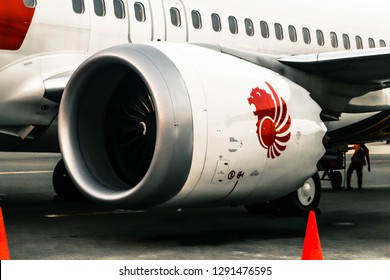 Jakarta, Indonesia - April 30 2018: Engine Picture of Lion Air Boeing 737-8 MAX PK-LQK