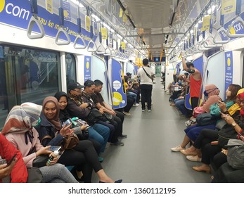 Jakarta, Indonesia - April 5 2019: People riding the new MRT underground train in Jakarta which open recently. This is the first line in a very congested city.