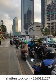 Jakarta, Indonesia - April 5 2019: Traffic jam along the Thamrin avenue in the heart of Jakarta business district in Indonesia capital city.