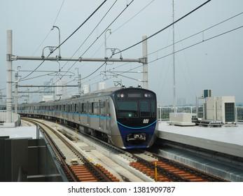 Jakarta, Indonesia - April 7, 2019: MRT Jakarta train arrives at Fatmawati MRT Station.
