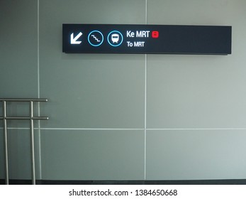 Jakarta, Indonesia - April 7, 2019: Signboard of To MRT at Bundaran HI MRT Station.