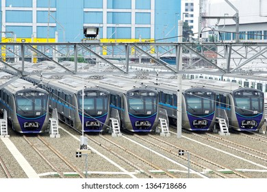 Jakarta, Indonesia April 9, 2019 : MRT trains parking at the station.The Jakarta MRT start operations in March 2019 for Bundaran HI to Lebak bulus in a distance of 16 KM.