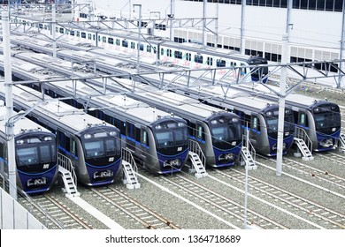 Jakarta, Indonesia April 9, 2019 : MRT train set  at depot Lebak Bulus.The Jakarta MRT start operations in March 2019 for Bundaran HI to Lebak bulus in a distance of 16 KM.