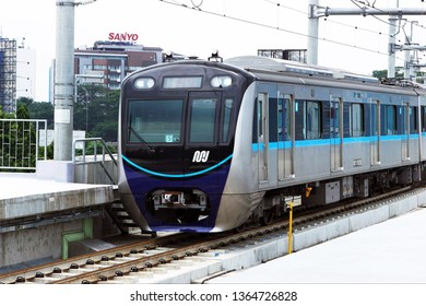 Jakarta, Indonesia April 9, 2019: The Jakarta MRT train officially operates in March 2019 for Bundaran HI to Lebak Bulus  in a distance of 16 KM with 6 underground stations and 7 elevated stations.