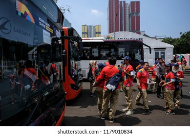 JAKARTA, INDONESIA - AUGUST 18, 2018 : Shuttle bus for athlete from athlete village to main Stadium Gelora Bung Karno on the 18th Asian Games Jakarta, Indonesia.
