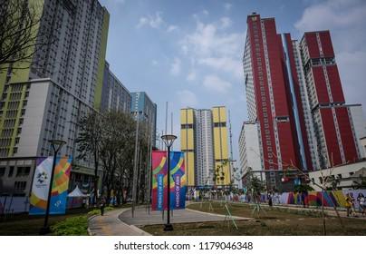 JAKARTA, INDONESIA - AUGUST 18, 2018 : View of Athlete Village at Kemayoran during 18th Asian Games 2018 Jakarta.