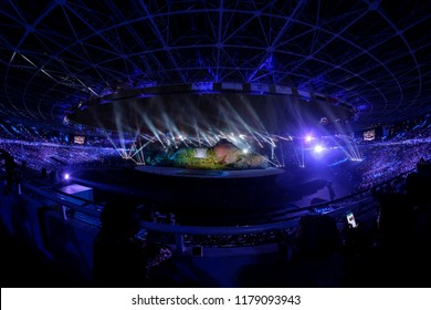 JAKARTA, INDONESIA - AUGUST 18, 2018 : Fireworks explode over Gelora Bung Karno Main Stadium during the opening ceremony of the 18th Asian Games 2018 Jakarta, Indonesia.