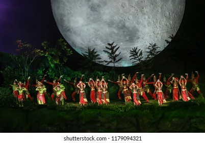 JAKARTA, INDONESIA - AUGUST 18, 2018 : Dancers perform during the opening ceremony of the 18th Asian Games 2018 Jakarta, Indonesia.