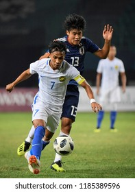 JAKARTA, INDONESIA - AUGUST 18, 2018 : Malaysia againts Japan during Men's Football round of 16 match at the Patriot Chandrabhhaga Stadium on the 18th Asian Games jakarta