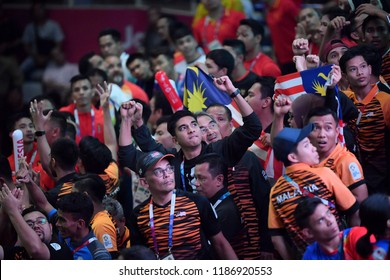 Jakarta, Indonesia - August 18, 2018 : Ministry Youth of Malaysia, Syed Saddiq celebrate with malaysia fans during on the 18th Asian Games Jakarta