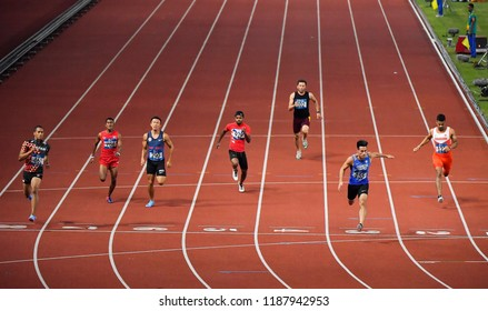 Jakarta, Indonesia - August 18, 2018 : Runner's Men's 100m event at the GBK Main Stadium during 2018 Asian Games Jakarta.
