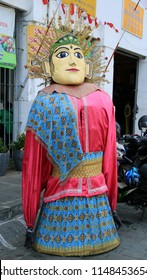 Jakarta, Indonesia - August 2, 2018: Ondel ondel (traditional a large doll from Batavia) in Jakarta Old Town area.