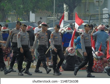 Jakarta, Indonesia - August 2, 2018: Kendeng Farmer collects commitment Jokowi's in front of the presidential palace.