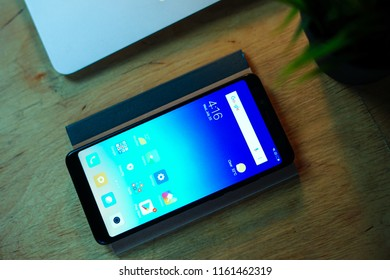 Jakarta, Indonesia - August 22, 2018: The Xiaomi Redmi Note 5 comes with 6-inch, 18:9 full-HD+ display and packing a Qualcomm Snapdragon 636 processor.