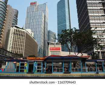 JAKARTA, INDONESIA - August 24, 2018: TransJakarta bus shelter in Sudirman district.