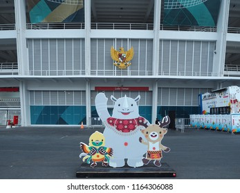 JAKARTA, INDONESIA - August 24, 2018: Asian Games 2018 official mascots Bhin Bhin, Atung and Kaka in GBK sports complex.