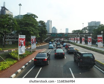 JAKARTA, INDONESIA - August 24, 2018: Traffic on Jalan Sudirman around Semanggi Interchange.