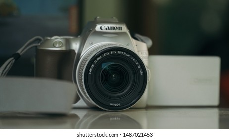 Jakarta, Indonesia - August 25, 2019: The Canon EOS 200D II DSLR camera (EOS 250D or EOS Rebel SL3 in most regions) with Canon EF-S 18-55mm F4-5.6 IS STM lens.