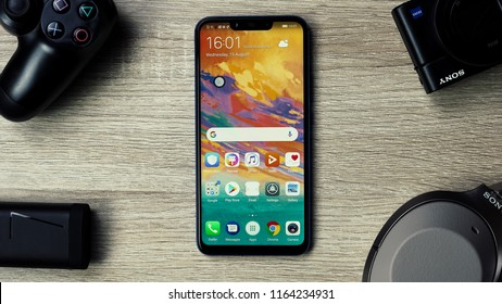 Jakarta, Indonesia - August 26, 2018: The Huawei Nova 3i smartphone manages to cram in a 6.3-inch 2340x1080p IPS LCD display with notch and 19:9 aspect ratio.