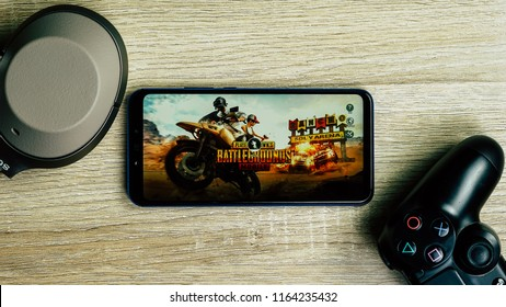 Jakarta, Indonesia - August 26, 2018: The Huawei Nova 3i smartphone playing PUBG Mobile battle royale games.