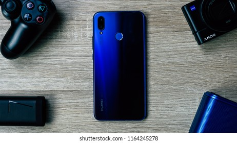 Jakarta, Indonesia - August 26, 2018: The Huawei Nova 3i smartphone has four cameras, it has a 16MP + 2MP rear cameras and 24MP f/2.0 + 2MP front cameras.