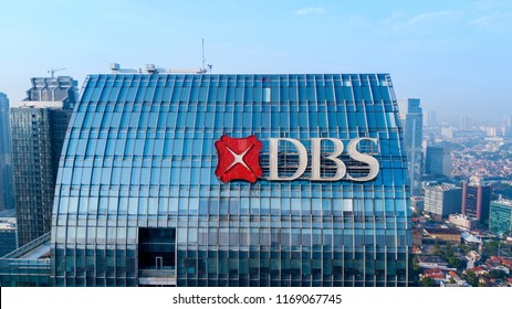 JAKARTA - Indonesia. August 27, 2018: Aerial view of DBS Tower located in South Jakarta, Indonesia