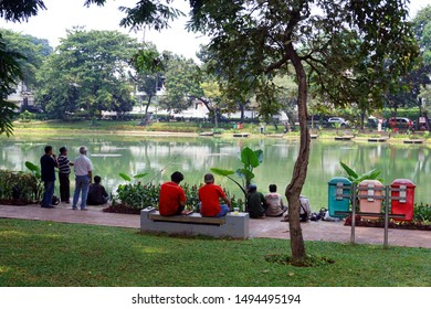 Jakarta, Indonesia August 28, 2019: Situ Lembang park located in Menteng region central Jakarta. Situ lembang was an oldest public park in Jakarta with a little lake.