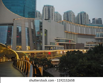 Jakarta, Indonesia - August 29, 2018: A futuristic design pedestrian bridge Eco Skywalk stretching between Central Park Mall and Neo Soho Mall.
