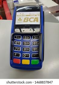 Jakarta: Indonesia - August 3, 2019: An EDC machine or a card swipe machine