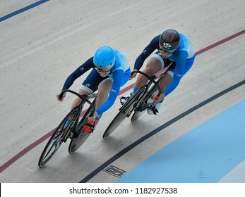 Jakarta, Indonesia - August 30, 2018 : Hong Kong's cycling during event at the cycling track competition at the 2018 Asian Games Jakarta.