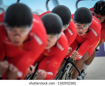 Jakarta, Indonesia - August 30, 2018 : China cycling during event at the cycling track competition at the 2018 Asian Games Jakarta.