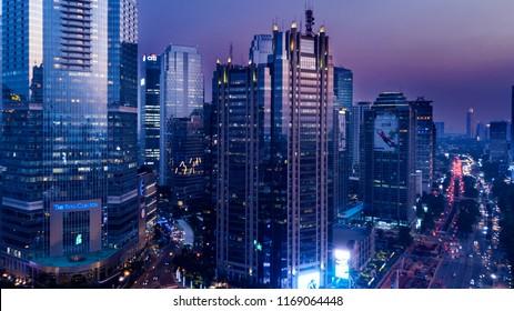 JAKARTA - Indonesia. August 31, 2018: Modern skyscrapers in near Sudirman road in Jakarta, Indonesia