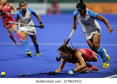 Jakarta, Indonesia - August 31, 2018 :  Yamada Aki (L) of Japan and Deepika (R) of India   in action during Asian Games 2018 in GBK Hockey Turf, Jakarta Indonesia