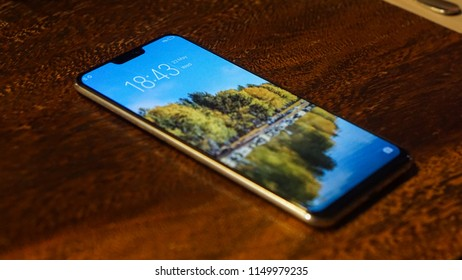 Jakarta, Indonesia - August 6, 2018: Vivo X21 smartphone comes with a 6.28-inch display and powered by Qualcomm Snapdragon 660 SoC.