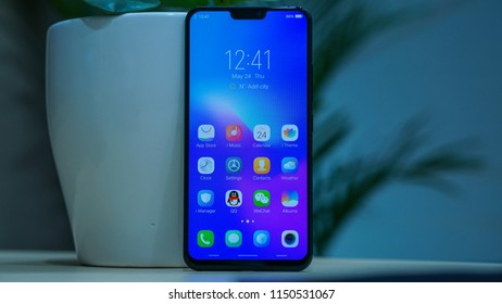 Jakarta, Indonesia - August 6, 2018: The Vivo X21 UD smartphone comes with a 6.28-inch display and powered by Qualcomm Snapdragon 660 SoC.