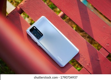"Jakarta, Indonesia - August 6, 2020: The back of Huawei P40 in silver frost color and has a 50MP Ultra Vision module with the extra-large 1/1.28"" sensor."