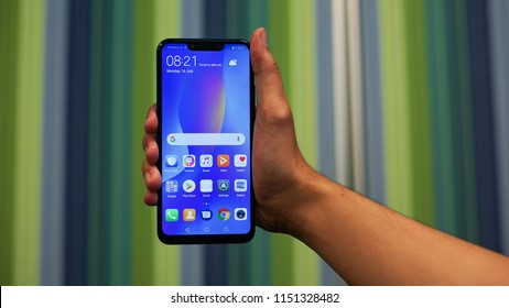 Jakarta, Indonesia - August 7, 2018:The Nova 3i is equipped with a 6.3-inch FullView Display 2.0 with FHD+ (2340 x 1080) resolution and notch design.