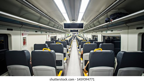 Jakarta, Indonesia : Cabin interior of Jakarta Airport Train, a new and modern transport infrastructure that serve mobility from Central Jakarta to Soekarno-Hatta Airport (07/2019).