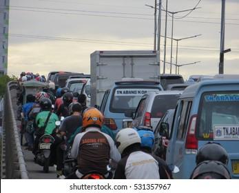 JAKARTA, INDONESIA - December 1, 2016: Traffic jam in Tanah Abang.