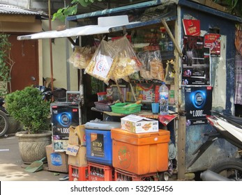 JAKARTA, INDONESIA - December 10, 2016: Warung, small store selling snacks food, cigarettes and soft drinks.