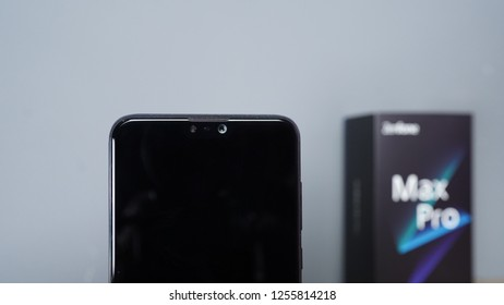 Jakarta, Indonesia - December 12, 2018: On the front, the ZenFone Max Pro M2 sports a 13-megapixel sensor with an f/2.0 aperture, 1.12-micron pixels, and an LED flash module.